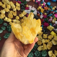 Natural quartz crystal stone dyed Yellow quartz clusters for decoration