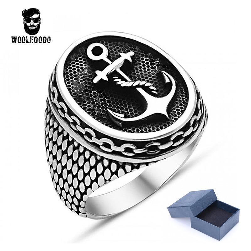 WooLeGoGo Anchor Chain Snakeskin Ring For Mens Stainless Steel Punk Rock Biker Rings Men Jewelry Vintage Black Silver Ring Anel opk biker stainless steel men bracelet