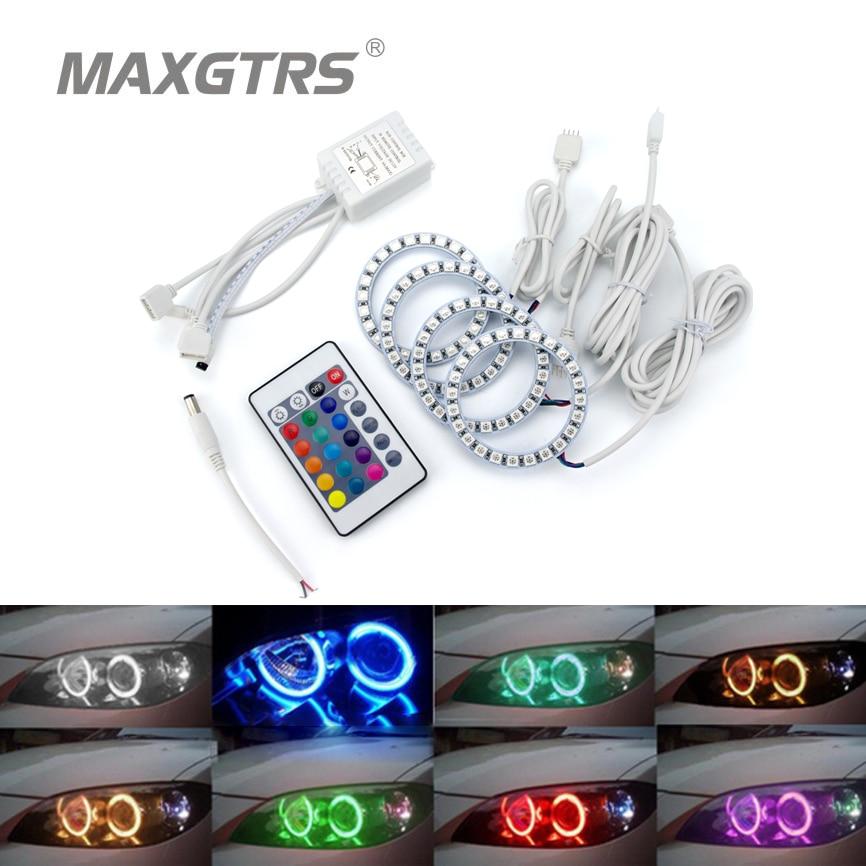 2x Multi-Color 60mm 70mm 80mm 90mm 100mm 120mm Angel Eyes 5050 RGB Halo Rings LED Bulb Flash Car Headlight Fog DRL