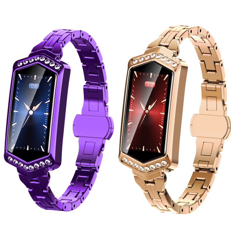 $39.99 Luxury Diamond Smart Watch for Women Sport IP67 Waterproof Bluetooth For Android IOS Iphone Rose Gold Purple Bracelet Watch 2019