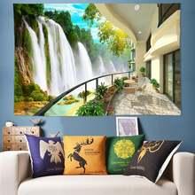 Большой 200x300 см водопад гобелен природа настенная 3d индийская