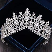 Tiara de lujo con diamantes de imitación para novia, corona barroca de cristal completo, diademas, accesorios de joyería para el cabello de boda