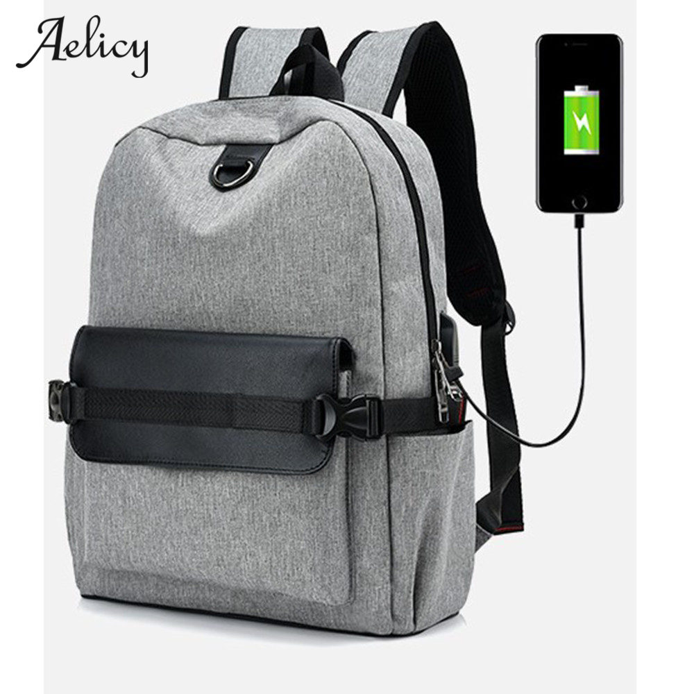 Aelicy 3 Colors Large Capacity USB rechargeable backpack Canvas Men Backpack For Teenager Male Backpack Laptop Women Rugzak 2019Aelicy 3 Colors Large Capacity USB rechargeable backpack Canvas Men Backpack For Teenager Male Backpack Laptop Women Rugzak 2019