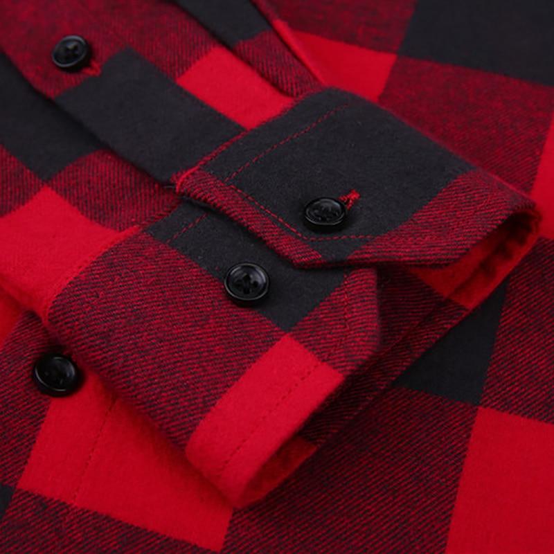 Menns 100% Cotton Casual Plaid Skjorter Pocket Langermet Slim Fit - Herreklær - Bilde 4
