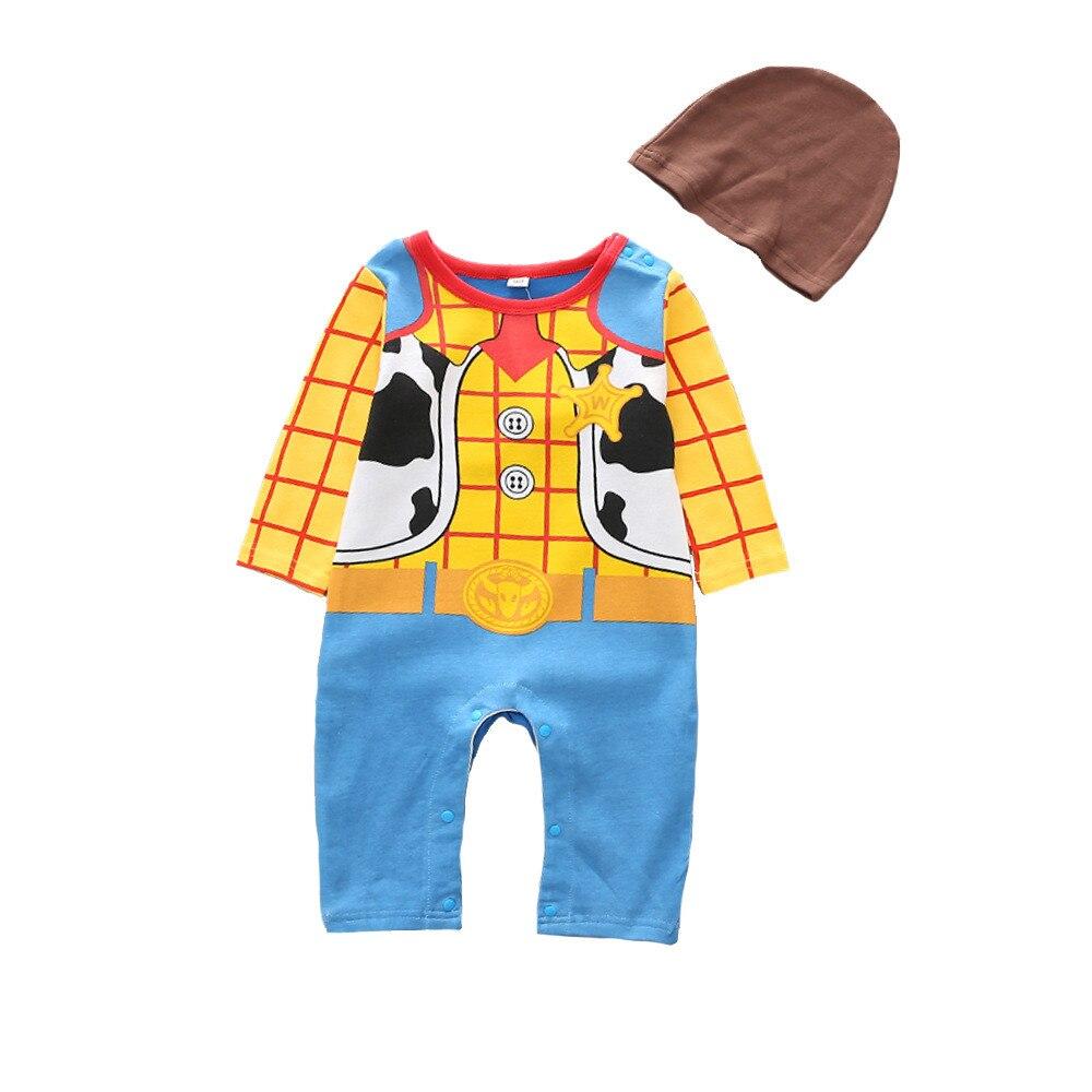 Cosplay Toy Story 4 Kids Child Sherif Woody Buzz Lightyear Uniform Newborn Baby Siamese  Jumpsuits+ Hat Set Crawler Costume