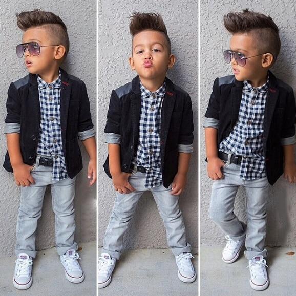 fc759009 Baby Boys Fashion Jeans Clothes Sets Children Loose-Fitting Cotton Jacket +  T-shirt + Jeans Pants 3-pcs Set of Clothes *