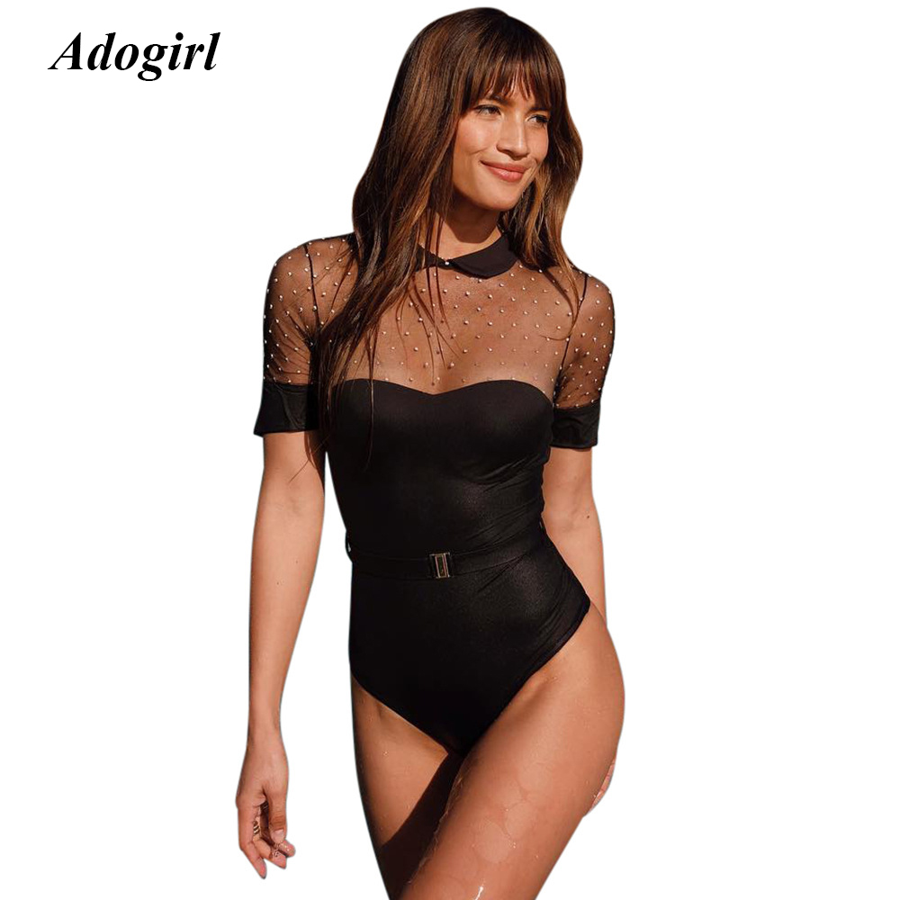 Adogirl Sexy Sheer Mesh Beading Skinny Jumpsuit Casual O Neck See Through Bodycon Shorts Bodysuit Outwear Overalls for Women