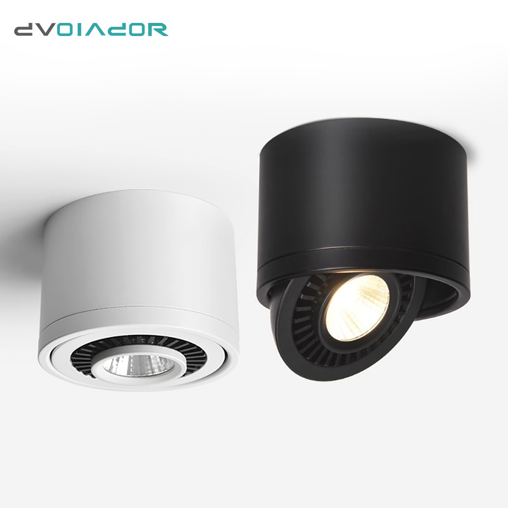 DVOLADOR Dimmable Surface Mounted LED COB Downlight 360 Degree Rotating LED Spot Light 15W 9W 7W