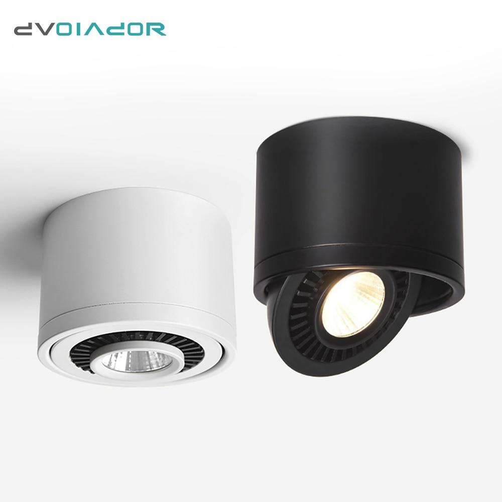 DVOLADOR kısılabilir yüzeye monte LED COB Downlight 360 derece dönen LED Spot ışık 15 W/9 W/7 w/5 W tavan lambası ile LED sürücü