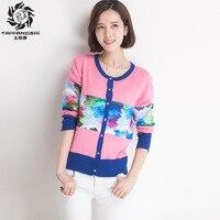 Korean Fashion Woman Cardigans Slim Long Sleeves Lady Knit Sweater Coat Women Print Cardigans Warm Standard
