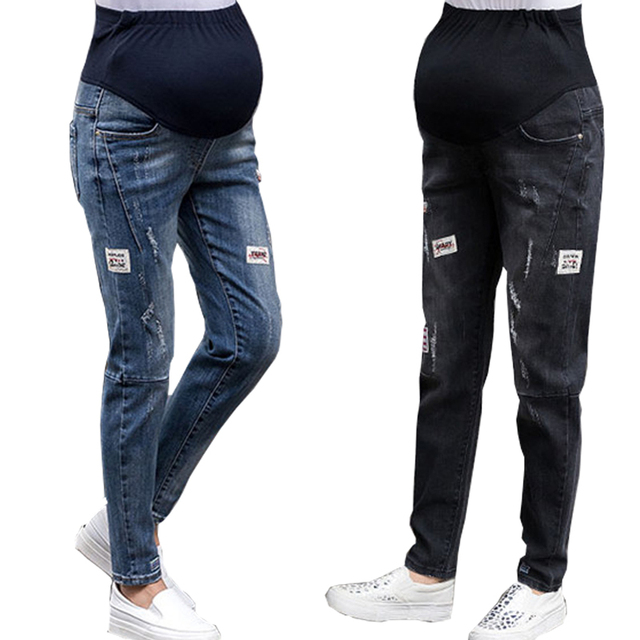 49436d147 Moda jeans casual Slim para mujeres embarazadas atención vientre embarazo  ropa Pantalones