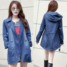 Hot Sale 2015 Women Hooded Double Breasted Denim Coats Fashion Autumn Slim Jeans Trench Coats Plus Size Ladies Coats H4679
