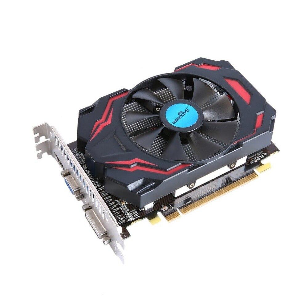 WISENOVO HD7670 karta graficzna 600/1800 MHz 4G/128bit gier wideo karta graficzna VGA DVI HDMI z wentylatorem chłodzącym 480 strumień procesor
