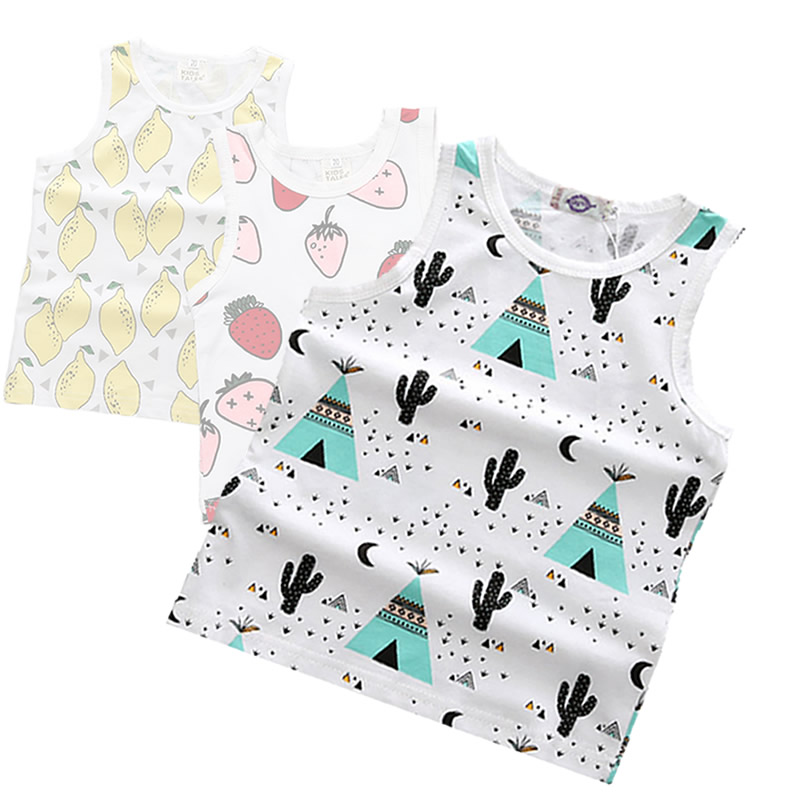 Summer, Pear, Strawberry, Cotton, Tops, Kids