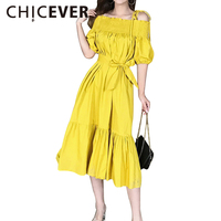 CHICEVER 2017 Sexy Off Shoulder Slash Neck Summer Dress Women Tunic Ruffles Long Lace Up Dresses