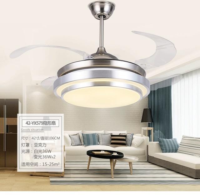 42 אינץ מודרני תקרה אילם מאוורר עם אורות אלחוטי שלט רחוק סלון גביש מנורת Led עם אוהדי מהירות בקר
