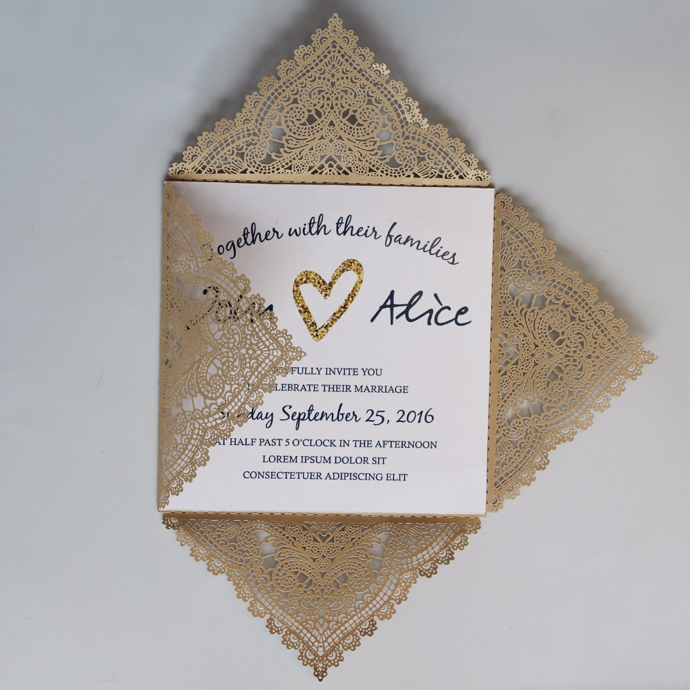 Us 105 0 Laser Cut Gold Wedding Invitations Lace Invitation Cards Printable Invite With Customized Wording Set Of 50 Pcs In