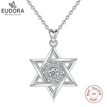 EUDORA 925 Sterling Silver Star di David e Cubic Zirconia Pendente Della Collana di Modo Esagramma CZ Dei Monili per il Regalo di Anniversario D334