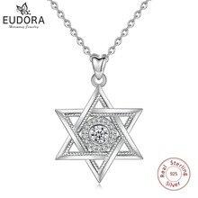 EUDORA collier en argent Sterling 925 étoile de David et zircon cubique, pendentif en zircon cubique, bijoux hexagramme CZ à la mode, cadeau danniversaire, D334