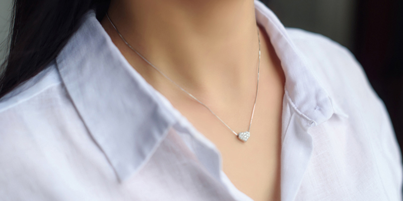 2017 Valentines Day Gift Fashion Design 925 Sterling Silver Sweet Heart Pendant Necklace with Crystal For Women Mother Gift