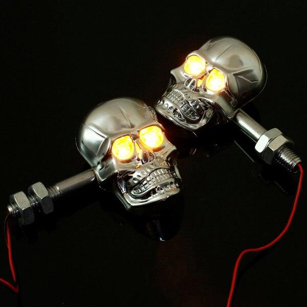 12 V 0.5 W universal motocicleta esqueleto cabeza cráneo Luz de señal de giro indicador Chrome