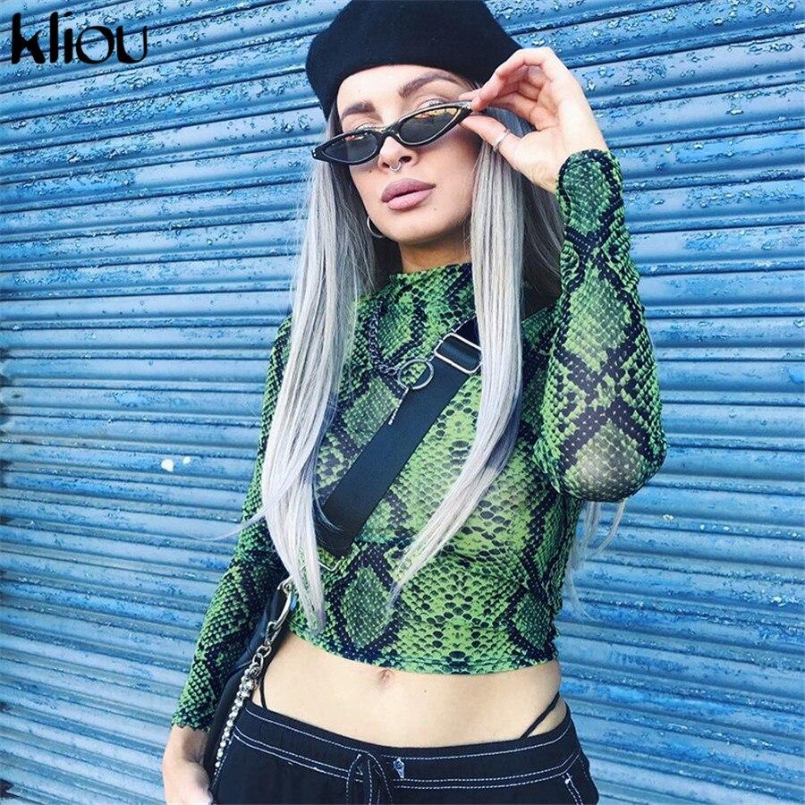 Kliou 2018 Women Fashion Sexy Snakeskin Pattern Ctop T-shirt Turtleneck Full Sleeve Print Skinny Female Sexy Party Short Top Tee