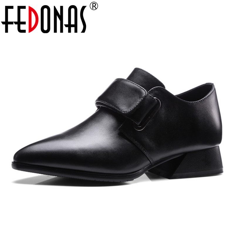 FEDONAS 2018 New Women Pumps Low Heels Casual Shoes Genuine Leather Ladies Spring Autumn Shoes Woman Sexy Pointed Toe Punk Pumps 2017 new sexy pointed toe high heel women pumps genuine leather spring summer shoes woman fashion dress party casual shoes pumps
