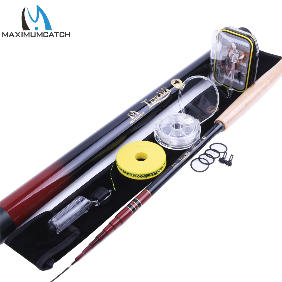 Maximumcatch Telescoping Tenkara Rod Combo 12FT Fly Rod Fishing Pole & Line & Flies & Tippet maximumcatch nexus 12 13 6ft tenkara telescoping fly rod 7 3 action fishing rod sock carbon tube with line keeper and fly line