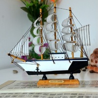Mediterranean Style Sailing Model Wooden Sailboat Handmade Carved Model Boat Wooden Decor Toy Nautical Home