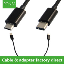 Reversible Design USB-C Type C Male Connector to Micro USB 2.0 Data Cable for Tablet &Mobile Phone 30cm