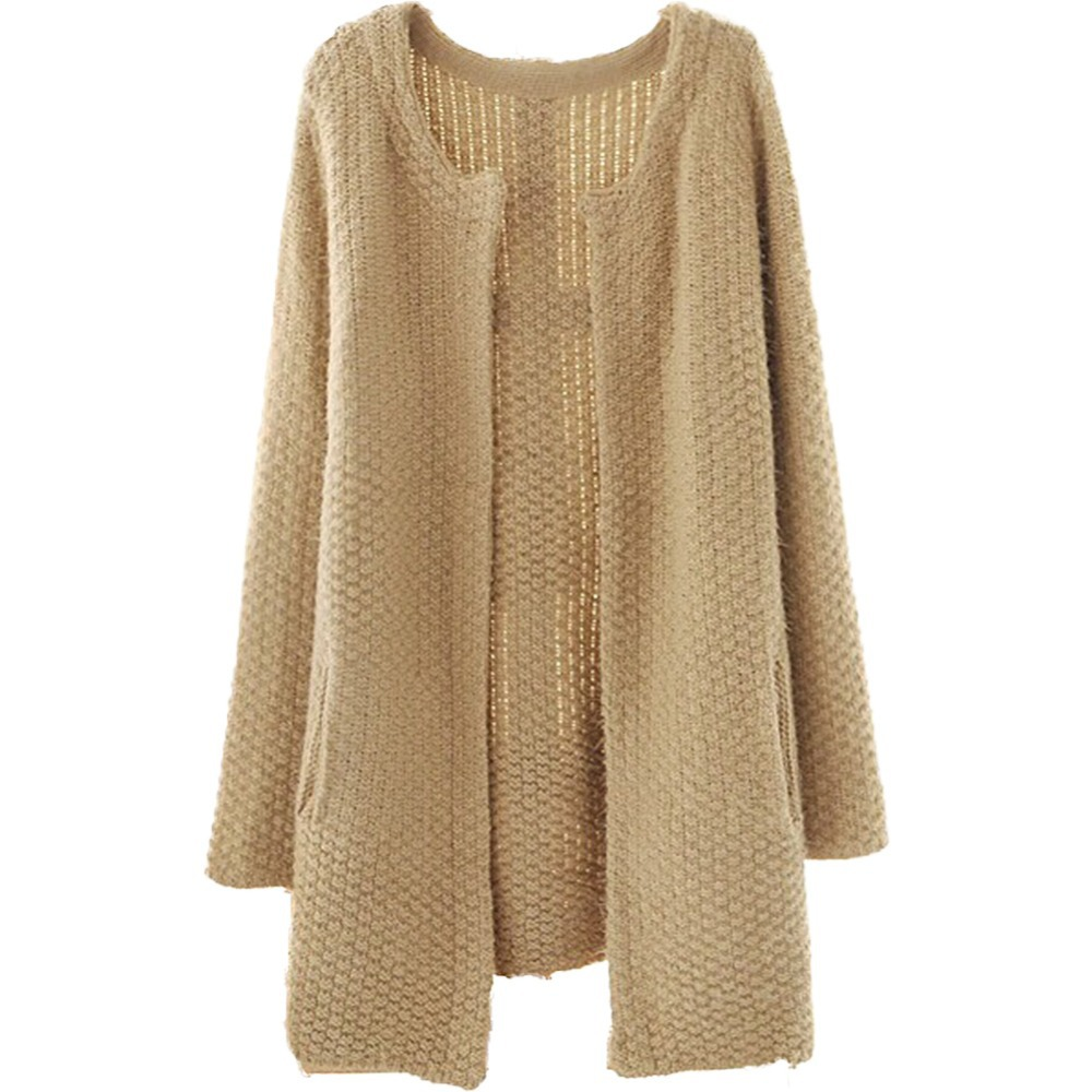 Online Shop Womens Loose Mohair Long Knitted Cardigan Sweater Coat