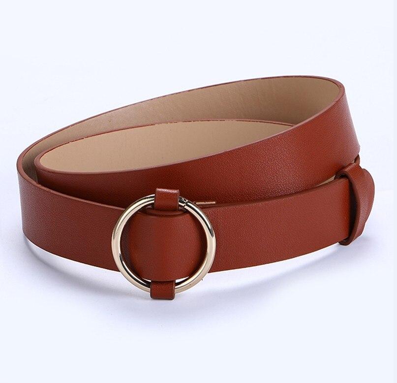 Горячая распродажа! женский ремень с пряжками и пряжками, с золотой пряжкой, для джинсов, для женщин, модные, студенческие, простые, повседневные брюки - Цвет: style 3 gold brown