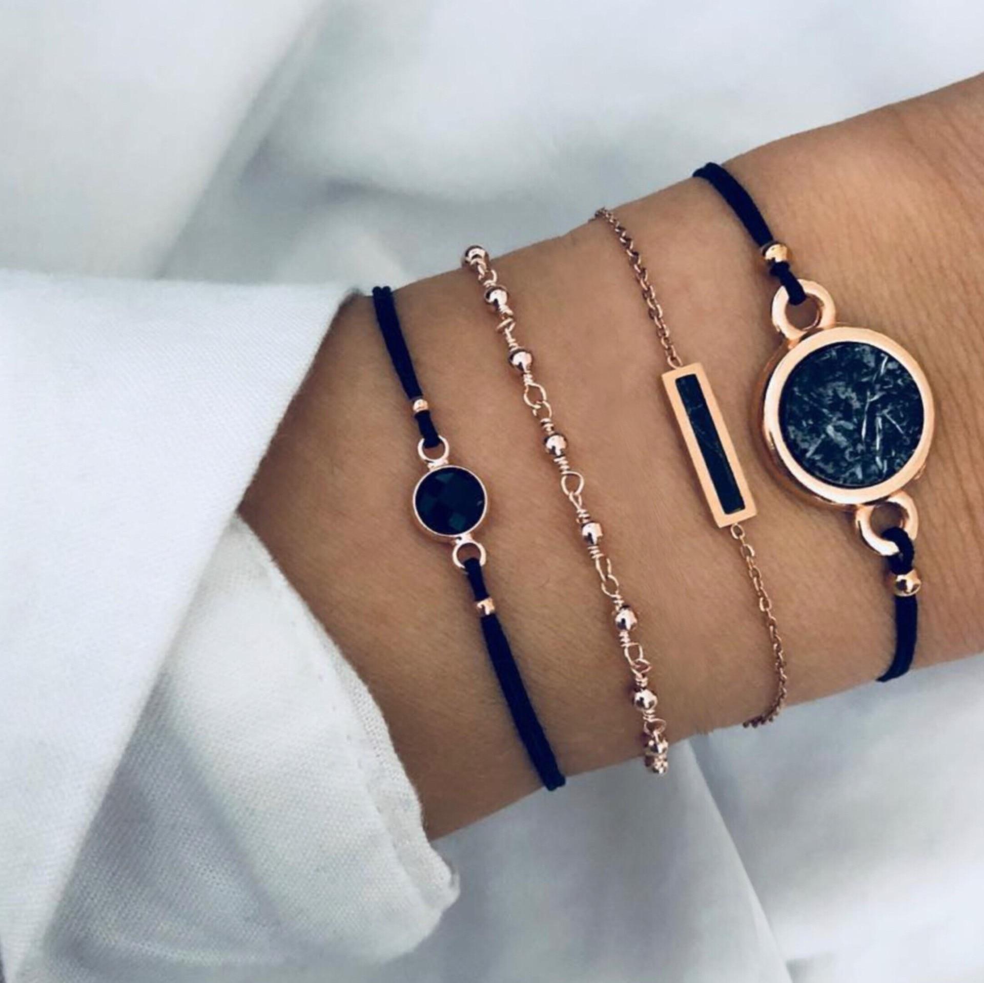 Rinhoo Bohemian Retro Resin Stone Charm Bracelet Sets Lotus Heart Moon Map Triangle Pendant Women Men Summer Ocean Style Jewelry