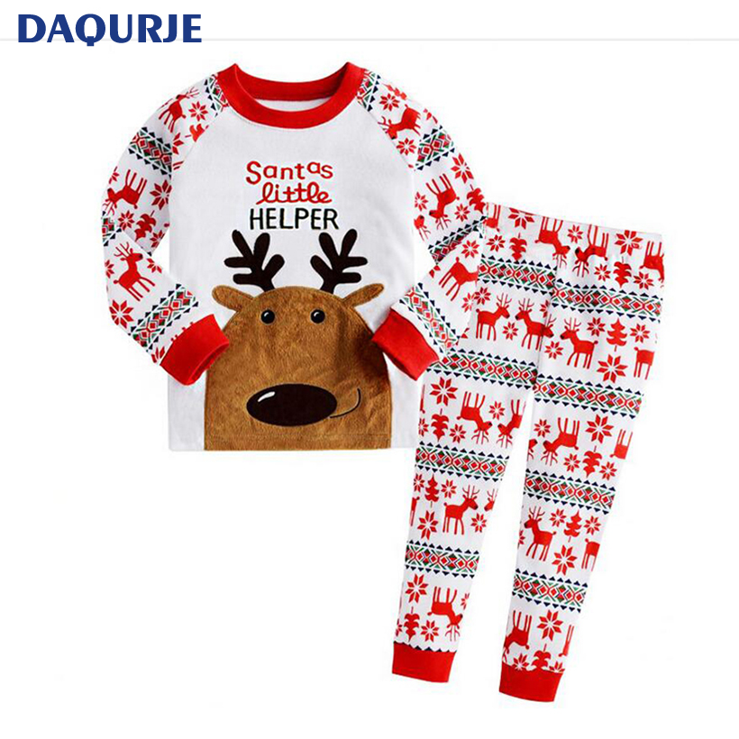 New Autumn Winter Kids Clothing Sets Christmas Deer Long Sleeve Boys/Girls Clothes Children Clothing Sets For 2-7Y Kids Costume