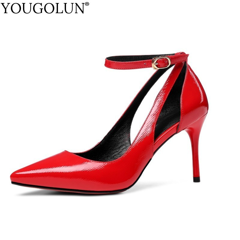 YOUGOLUN Women Genuine Patent Leather High Heels Ladies Fashion Buckle Party Shoes Woman Red Black Sexy Pointed toe Pumps B224 2016 size 34 49 black high quality patent leather sexy pointed toe high heels women pumps ladies shoes woman chaussure femme