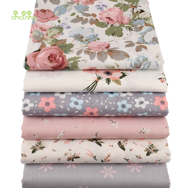 Chainho,6pcs/lot New Floral Series Twill Cotton Fabric,Patchwork Cloth,DIY Sewing Quilting Fat Quarters Material For Baby&Child 3