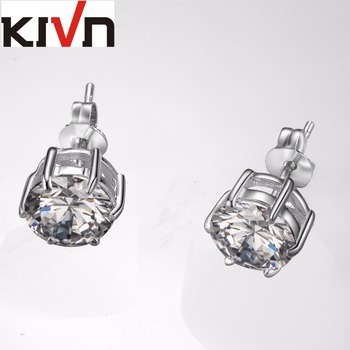 KIVN Fashion Jewelry Simple Round 8mm CZ Cubic Zirconia Post Stud Earring Mothers Day Birthday Gifts 10pcs Lot Wholesale