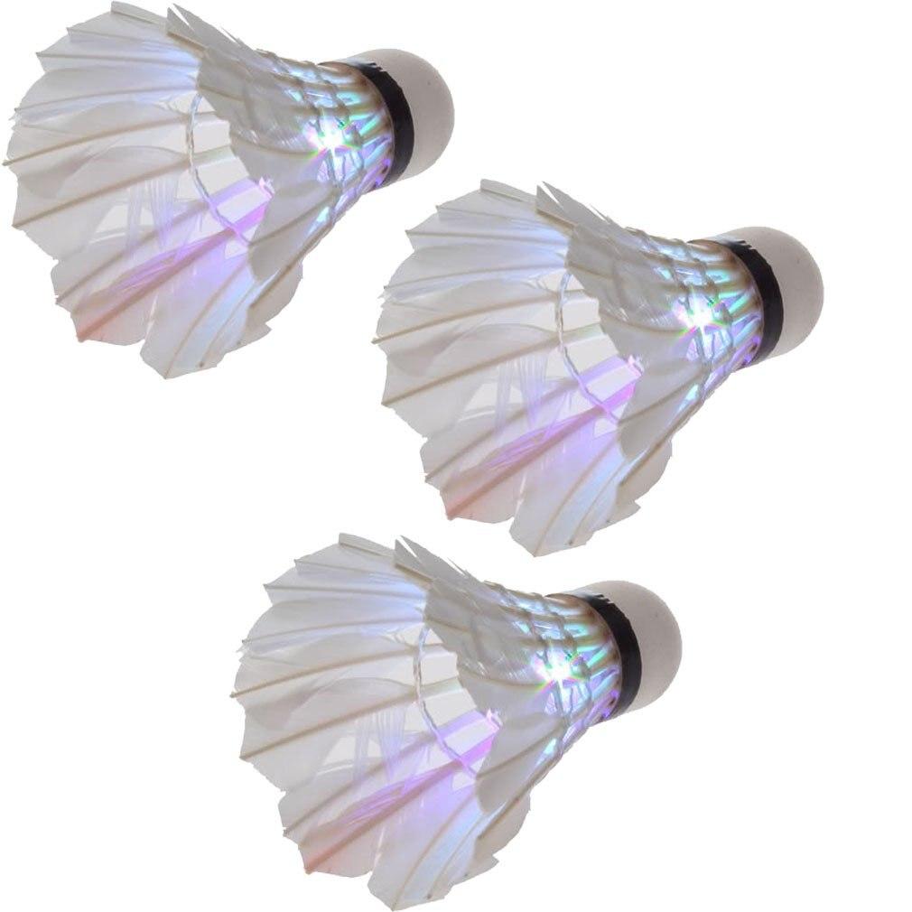 Super sell  Dark Night LED Badminton Shuttlecock Birdies Lighting(pack of 3) (multi colours)