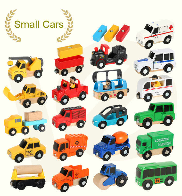 EDWONE -Wood Railway Helicopter Car Truck Wooden Magnetic Train Plane Accessories Toy For Kids Fit Wood Thomas Biro Tracks Gifts