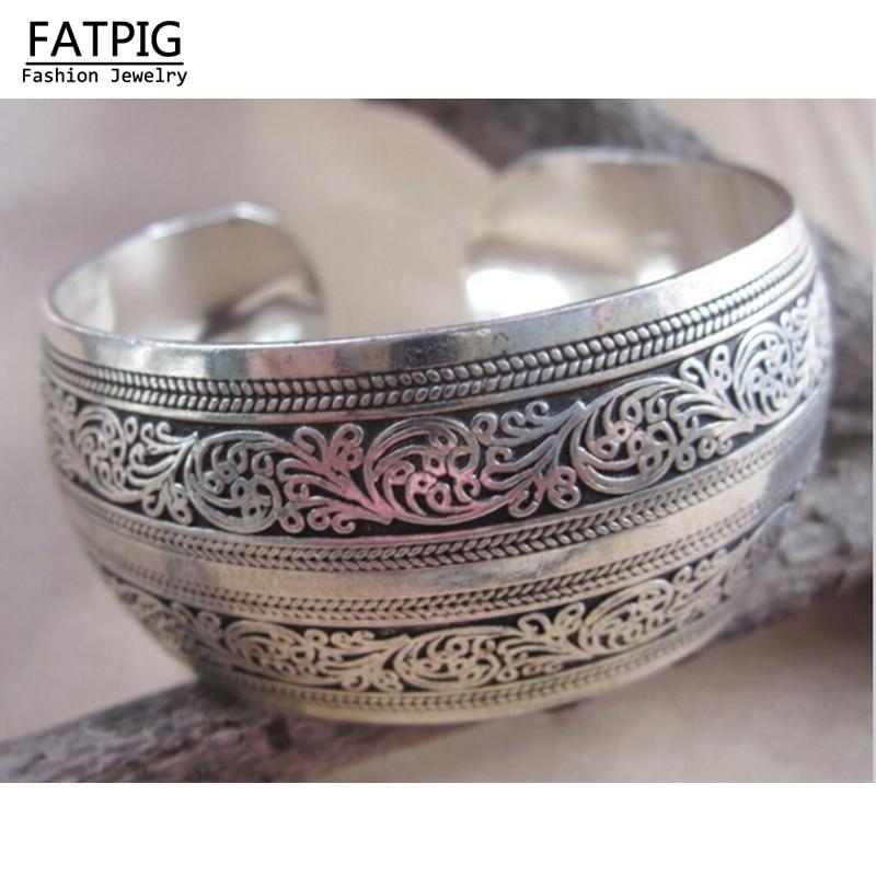 High Quality Women Vintage Bracelets Wide Flower Printing ...