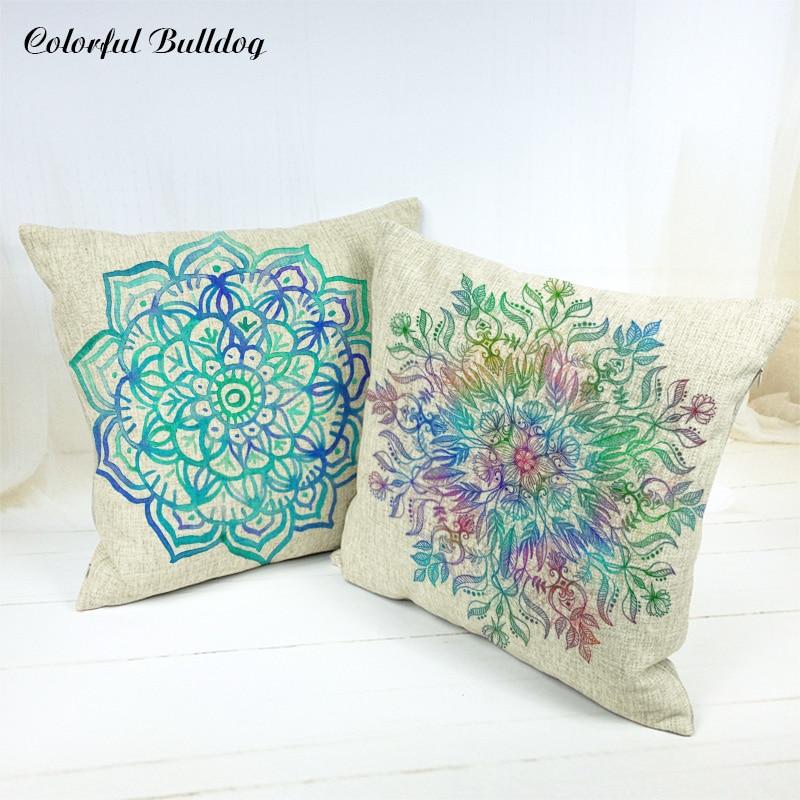 Cushion Covers Colorful Geometric Throw Pillow Covers Car Seat Decor 45X45Cm Linen Home Office Furniture Ramadan Fundas De Cojin
