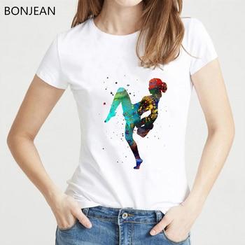 цена на Korean clothes watercolor thai boxing girl print t shirt women white harajuku tee shirt femme summer fashion t-shirt female