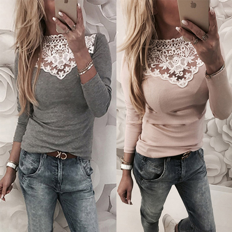 Spring Autumn Women Lace Blouse Shirt Sexy White Red Gray -9183