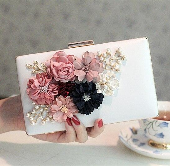 2017 Nueva Flor de La Perla Bolsa de Embrague Día de la Mujer Bolso de Noche de