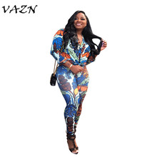 VAZN 2018 New Style Brand Fashion Streetwear Women Jumpsuit Print Full Sleeve V-Neck Full Length Jumpsuits H810