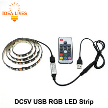 TV Background Lighting DC5V USB LED Strip 5050 RGB 60LEDs/m with 17Key RF Controller 50cm / 1m / 2m Set
