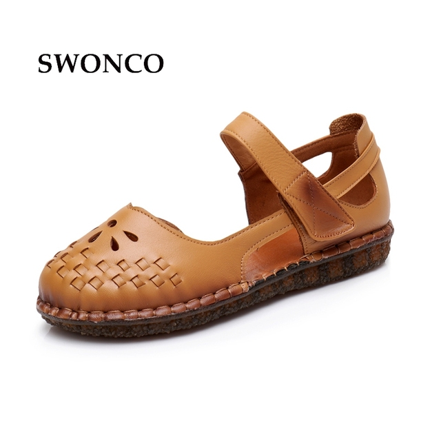8fb23a155182 SWONCO Women s Sandals 2018 Summer Hollow Carved Genuine Leather Ladies  Shoes Women Sandals Flat Casual Shoes Mother Sandal