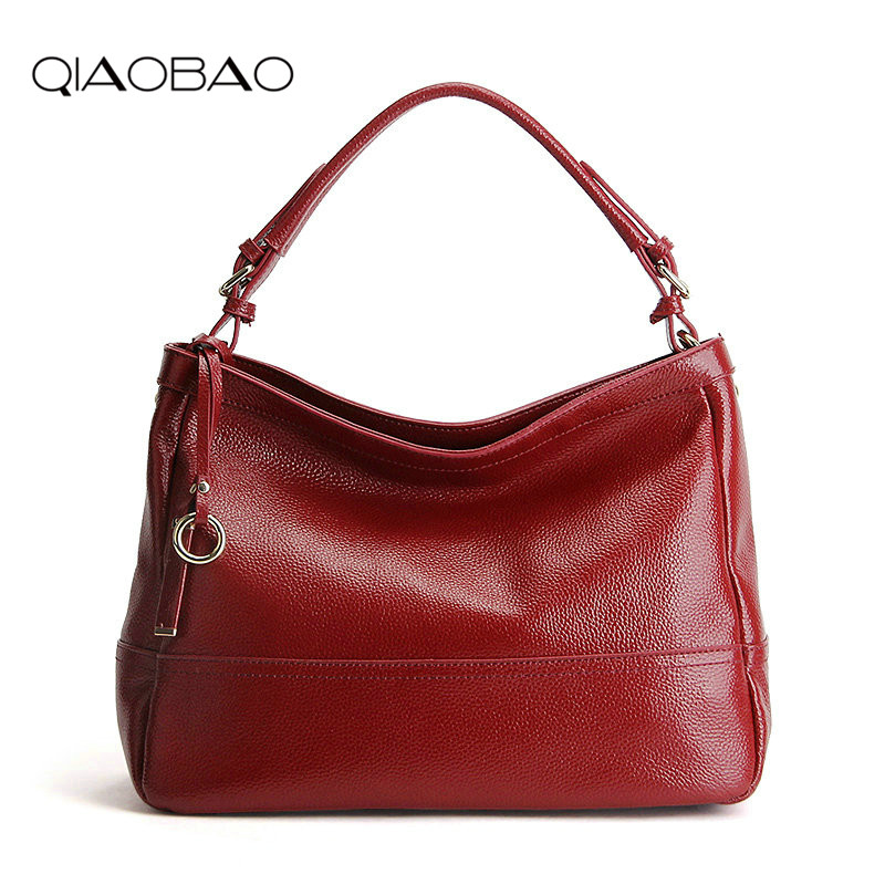 QIAOBAO 2018 Fashion 100% Real Genuine Leather OL Style Women Handbag Tote Bag Ladies Shoulder Bags Wholesale price