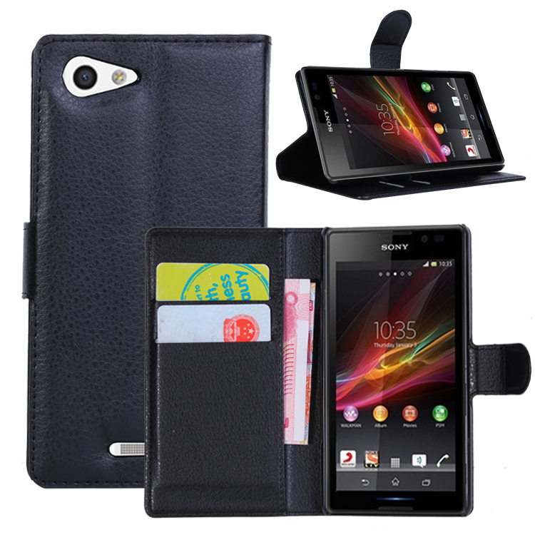 Wallet Flip Leather Case for <font><b>Sony</b></font> <font><b>Xperia</b></font> <font><b>E3</b></font> <font><b>E3</b></font> Dual 4G D2203 D2206 D2243 Leather back Cover case with Stand Etui Coque funda> image