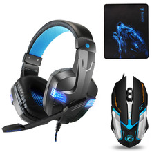 Купить с кэшбэком Best Gaming Headset Gamer casque Deep Bass Gaming Headphones for Computer PC PS4 Laptop Notebook Xbox One with Microphone LED